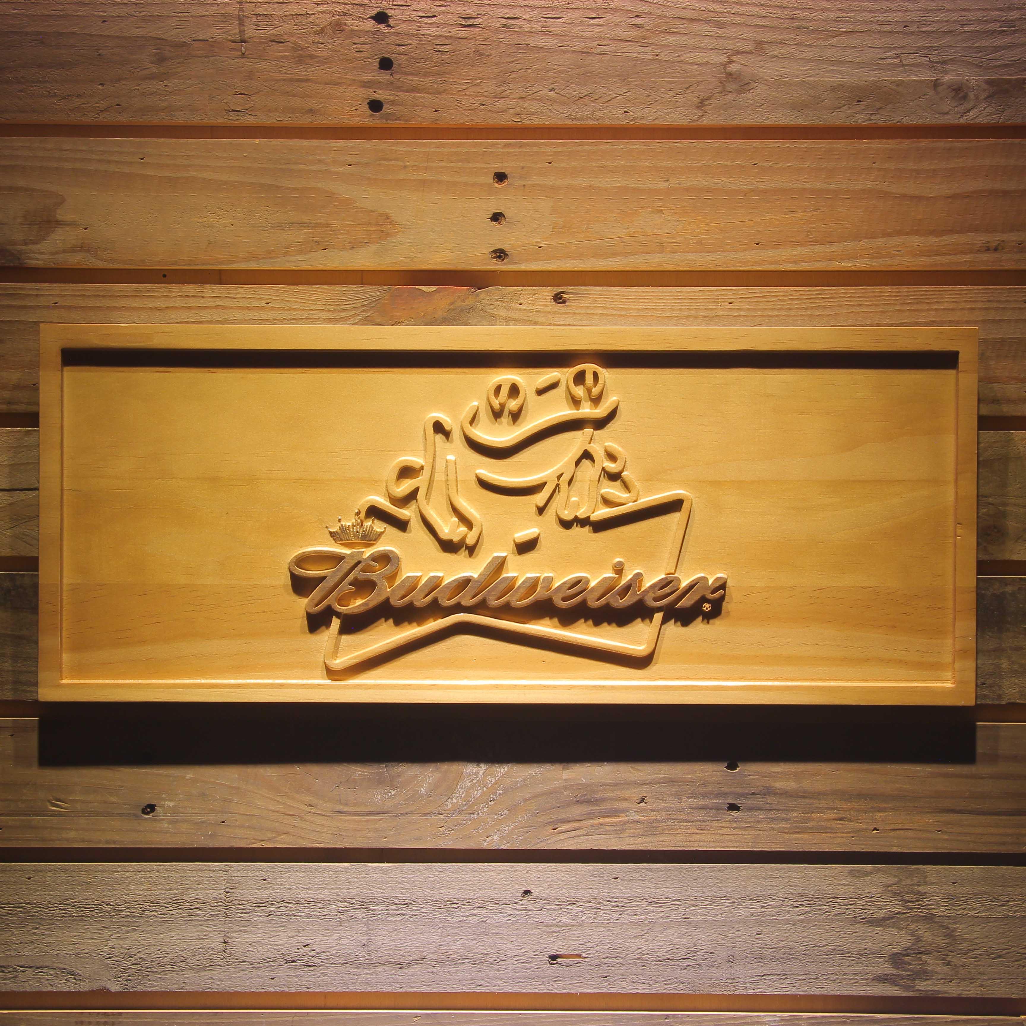 Budweiser Frog Beer 3D Wooden Sign