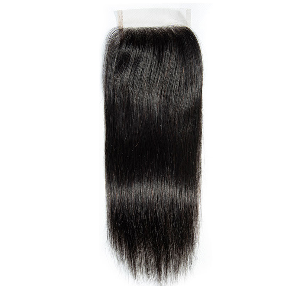 Hair Master 100% Brazilian Human Hair Straight 8-20 Inch 4x4 Lace Closure 1B Middle Free Three Part Natural Color Remy Closure