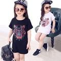 Дети новая девушка одежда футболка 3 цвет ребенок выбирает хлопка Мультфильм девушка возглавляет китай дешевые топ дети футболки