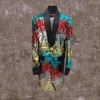 M 6XL 2017 Big Yards Men S Clothing Gd Paillette Long Design Suit Male Costume
