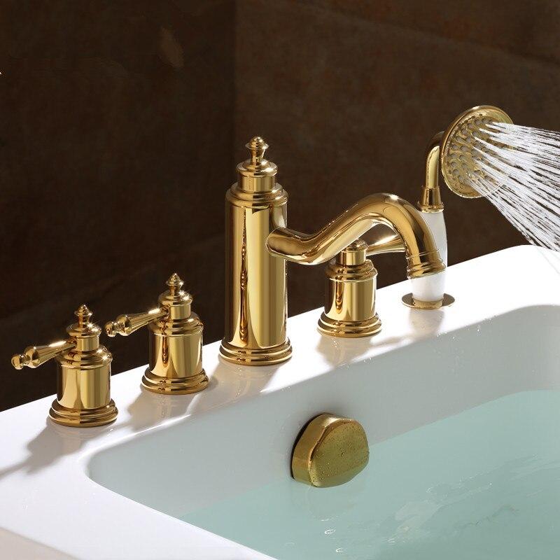 2018 en gros nouveauté Premium luxueux décor à la maison Antique brun 5 pièces baignoire robinet baignoire remplisseurs bain douche mélangeur robinets - 2