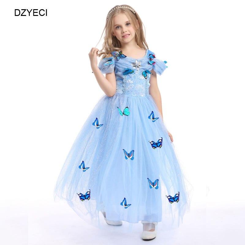 DZYECI fille Cinderela Robe Carnaval Costumes pour enfant Robe Princesse enfant Deguisement Elza arc dentelle fête bal de promo Maxi 8 T