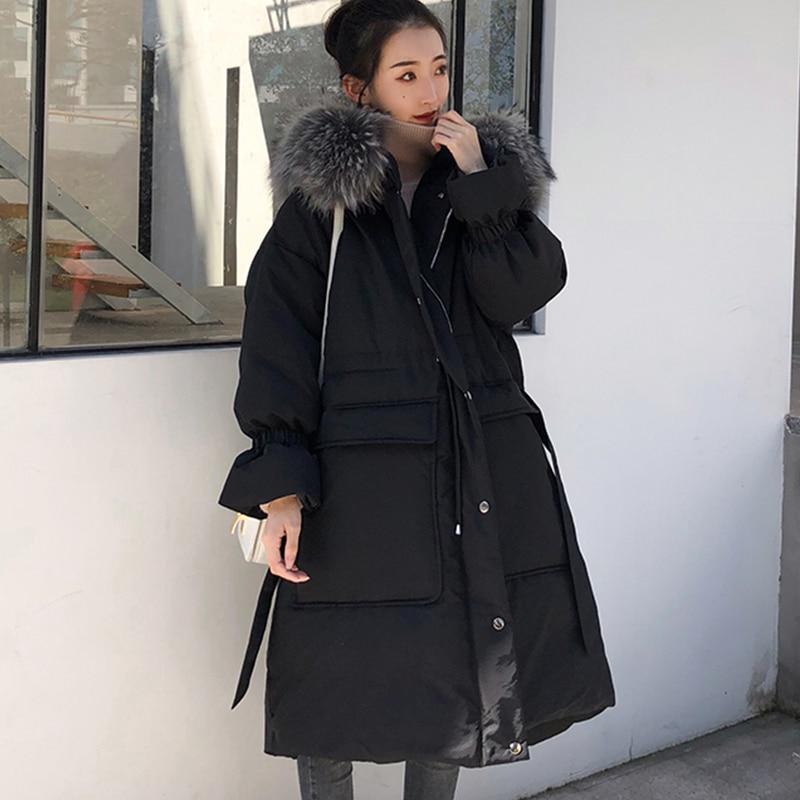 Lâche Mode Vêtements Coton Grand Veste Épais 2019 De La Capuchon black Hiver Bas Taille Beige Femmes Hj178 Vers Fourrure Le Nouveau Femme À Col Plus Long POw5f