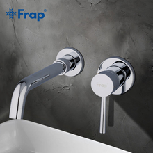FRAP Modern Brass Wall Basin Tap Bathroom Sink Faucet Swivel Spout Bath  Single Lever Chrome Polishing Bathroom Supplies Y10050 wall mounted chrome finish laundry sink tap single lever bath washing machine tap