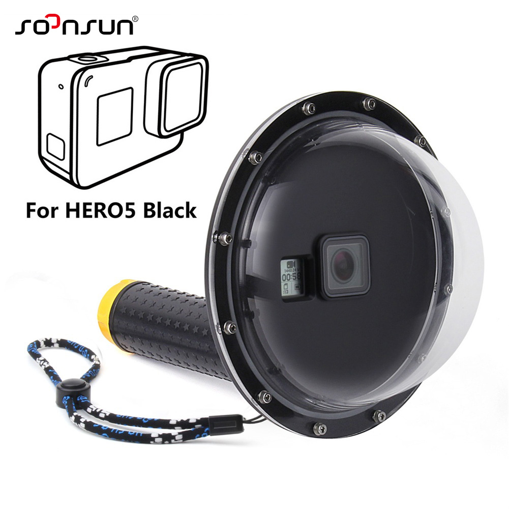"""SOONSUN 6"""" Underwater Waterproof Dome Port Diving Lens Cover Case for GoPro Hero 5 6 7 Black Go Pro Hero7 White/Silver Accessory-in Sports Camcorder Cases from Consumer Electronics"""