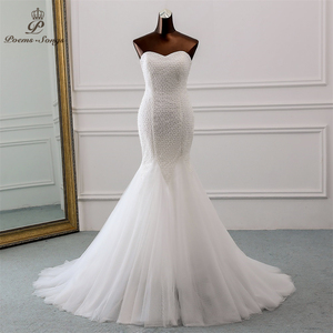 Image 1 - PoemsSongs חדש יוקרה תחרה חתונה שמלה 2020 robe mariage Vestido דה noiva בת ים חתונת שמלות robe דה mariee