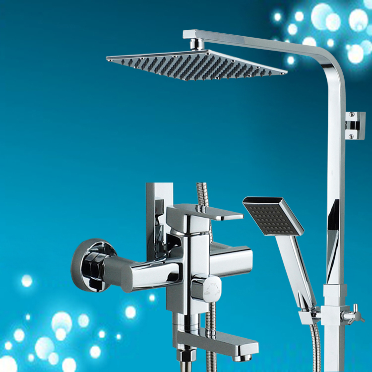 Chrome Finish Rain Shower Set Faucet Wall Mounted Cold&hot Water Square Shower Head High Pressure Shower Head Bidet