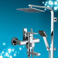 Chrome Finish Rain Shower Set Faucet Wall Mounted Cold Hot Water Square Shower Head High Pressure