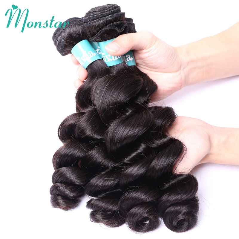 Monstar 5 Bundles Peruvian Wavy Hair Loose Curly Bundles Unprocessed Human Virgin Hair Weaving Natural Color Free Shipping