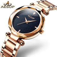 f00b5b64b5d ESOPO Minimalista Mulheres de Ouro Relógios de Quartzo Ponteiros Luminosos  do relógio de Pulseira de Aço