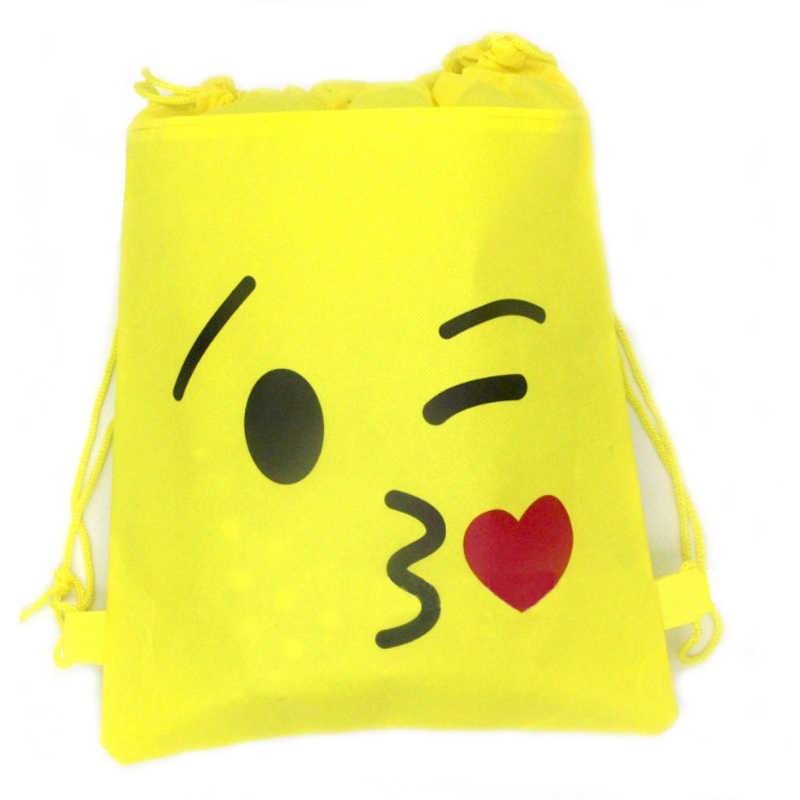 1pcs Lot Emoji Theme Mochila Birthday Party Decora Blow Kissing Non Woven Fabric Drawstring