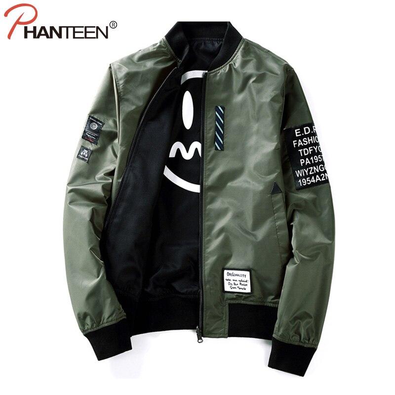 Phanteen Front Opposite Wear Design Man Coats Plus Size Air Force Bomber Jackets Letter Print Smile Face Fashion Men Clothing