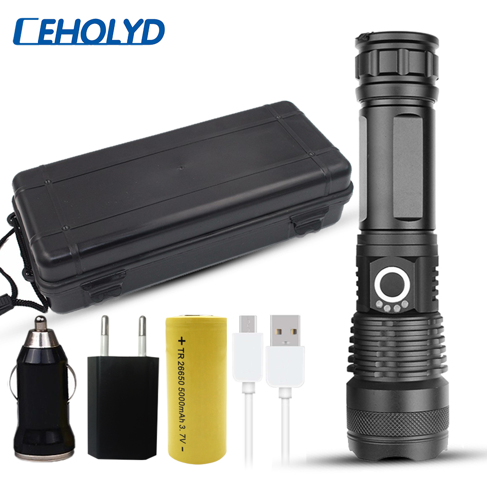 led flashlight cree xhp50 usb charging Stretch zoom Shock Resistant Powerful power 18650 or 26650 rechargeable flashlight torch(China)