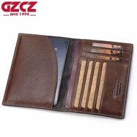 GZCZ Genuine Leather Men Wallet Passport Cover ID Business Card Holder Travel Credit Case Rfid Driving