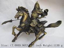 Elaborate Chinese ancient auspicious copper Guan gong riding on horse statue(China)