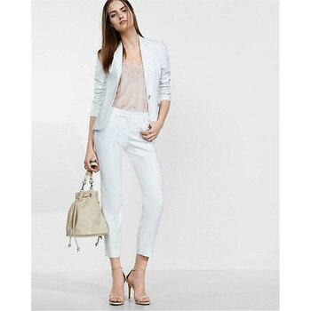 Women's new casual single buckle solid color suit two-piece suit (jacket + pants) women's business suits support custom