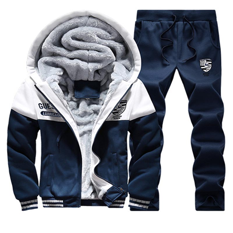 2019 Winter Mens Sweat Suit Velour Tracksuit Men Zip Hoodie Sweatshirt & Sweatpants Joggers Men Set Casual Warm Velvet Sporting