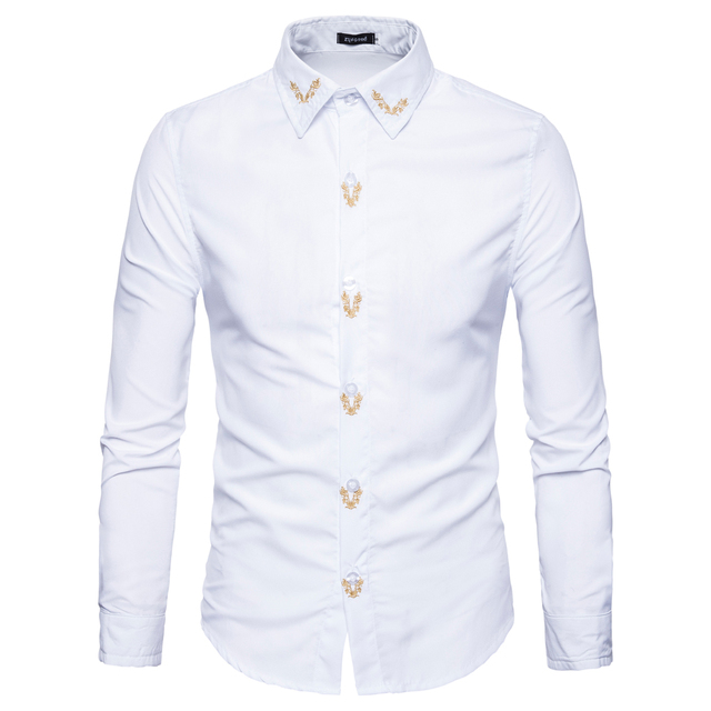 Brand 2017 Fashion Male Business Shirt Long-Sleeve Tops Embroidered Casual  High Quailty Mens Dress