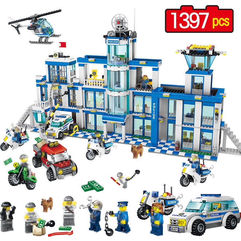 1397pcs Large Building Blocks Sets City Police Station Anti-Terrorism Action Compatible legoINGLY City Police Toys for Children city architecture mini street scene view reims cathedral police headquarters library fire departmen building blocks sets toys