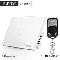 FUNRY US Standard 1Gang 1way Smart Remote Control Wall 433mHz RF Switch On Off Light By