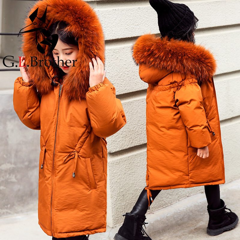 Russian Winter Kids Down Coat Snow Wear Big Real Raccoon Fur Long Girls Parkas Outwear Overcoat Thick Warm Children Down Jacket 2017 new winter fashion women down jacket hooded thick super warm medium long female coat long sleeve slim big yards parkas nz18