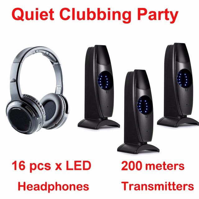 Silent Disco complete system black led wireless headphones – Quiet Clubbing Party Bundle (16 Headphones + 3 Transmitters)