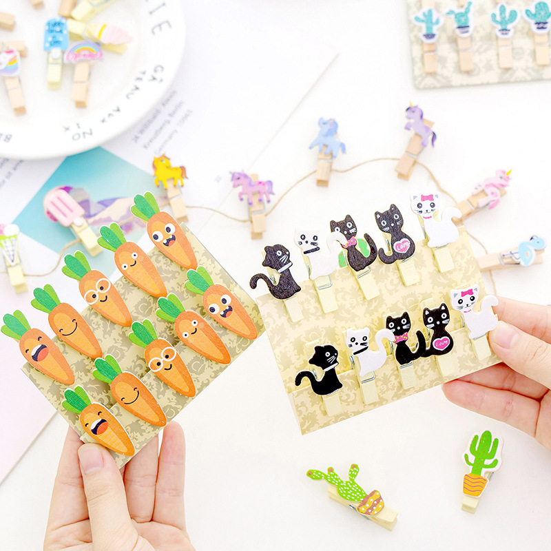 10pcs/pack Diy Wooden Clips For Photo Cute Carrot Cat Rainbow Ice Cream Wood Paper Clips Clamp Animal Horse Clips