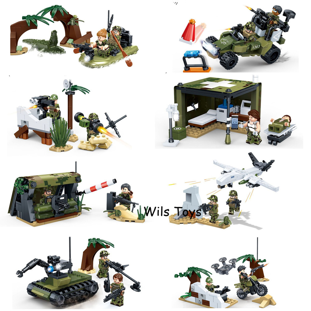 8 IN 1 MILITARY Army World War 2 Tank Weapons SWAT Soldiers Creator DIY Model Building Blocks Bricks Figures Set Gifts Toys Boys цена