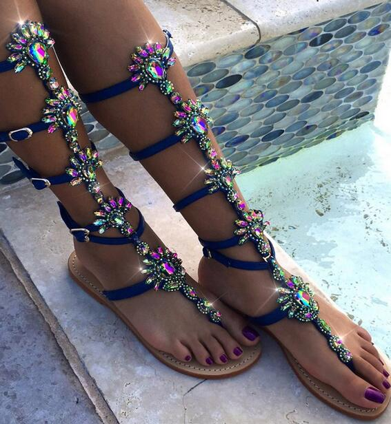 2017 Summer Hot Luxury Crystal T-Straps Women Fashion Gladiator Sandals Sexy Clip Toe Ladies Buckles Flat Sandals Size 43 women luxury style mixed colors rhinestone flat sandals clip toe beautiful crystal bohemia flat sandals strap buckles sandals