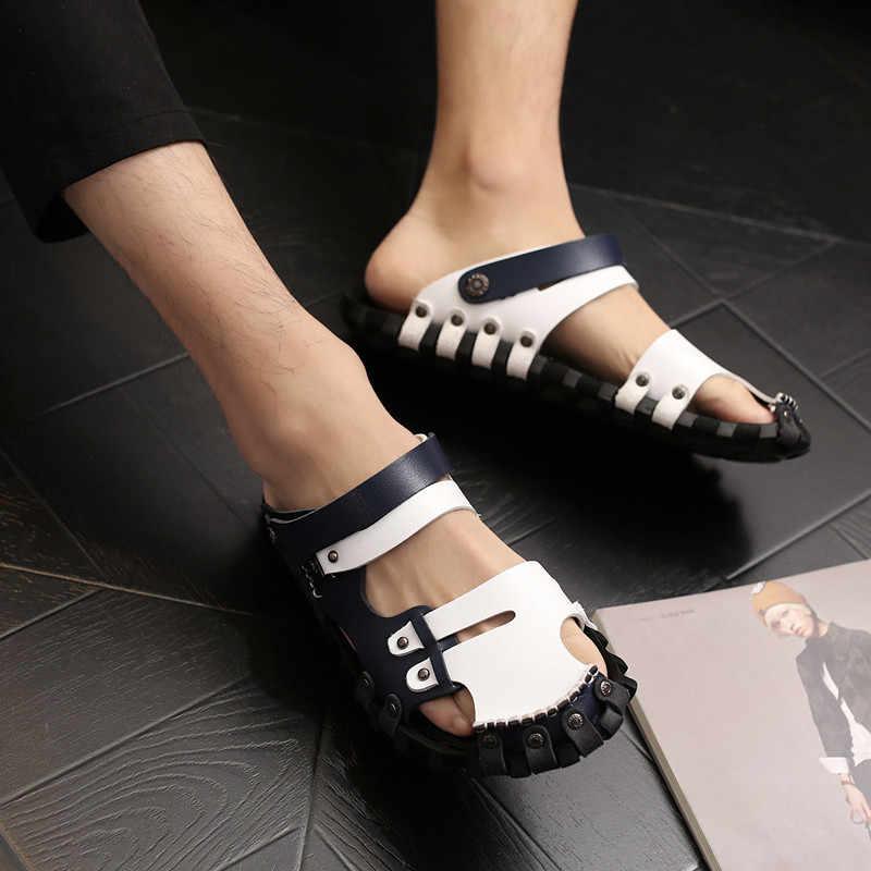 c62d110ce ... Дизайнерская обувь, коллекция 2019 года, пляжные сандалии из  натуральной кожи, мужские сандалии- ...
