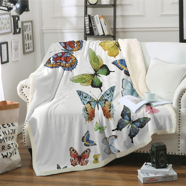 Butterfly Insect Print Sherpa Blanket Couch Sofa Travel Youth Bedding Fleece Thick Blanket Bedspread Home Decoration Tapestry