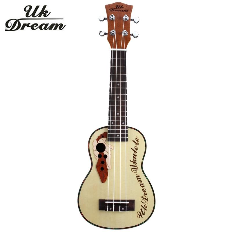 21 düymlük Akustik Gitara Spruce Sapele Üzüm Çuxuru 4 Simli Gitara Kiçik Ukulele Qapalı Düyün 12 Dəri Üst Gitara US-316