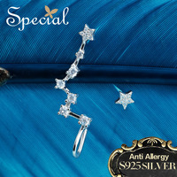 Special Brand Fashion 925 Sterling Silver Stud Earrings AAA Zirconia Big Dipper Stars Ear Pin New