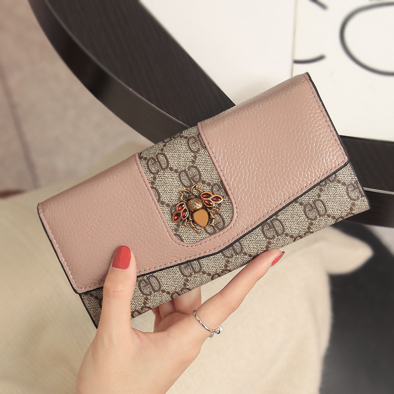 2019 new wallet female long section large capacity cowhide multi card wallet leather wallet clutch bag