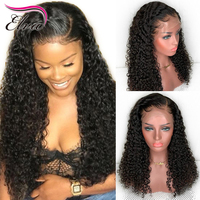 360 Lace Frontal Wig Pre Plucked With Baby Hair Natural Color Brazilian Curly Human Hair Wigs For Black Women Elva Remy Hair Wig