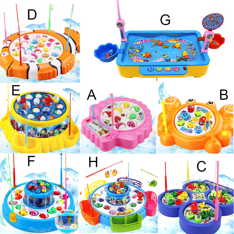 Childrens Kids Fishing Board Toy Game Fish Electric Magnetic Educational Rotating M09