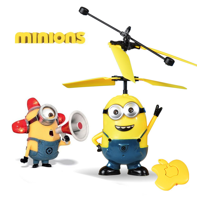 RC Helicopter Flying Induction Despicable Me <font><b>Minion</b></font> Quadcopter <font><b>Drone</b></font> Small Yellow People Light Remote Control Aircraft Kids Toys image