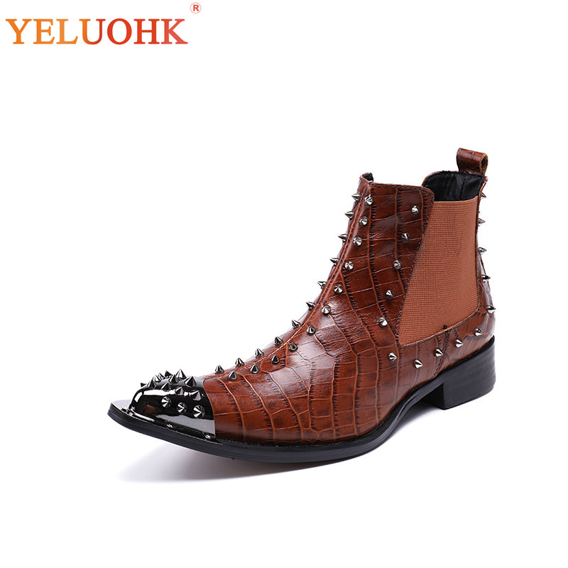 Crocodile Brown Rivet 38 Grande Pointu C Style brown Automne Chaussures Hommes Bottes Taille 46 brown Mode Bout Chelsea B A LpSUzMGqV