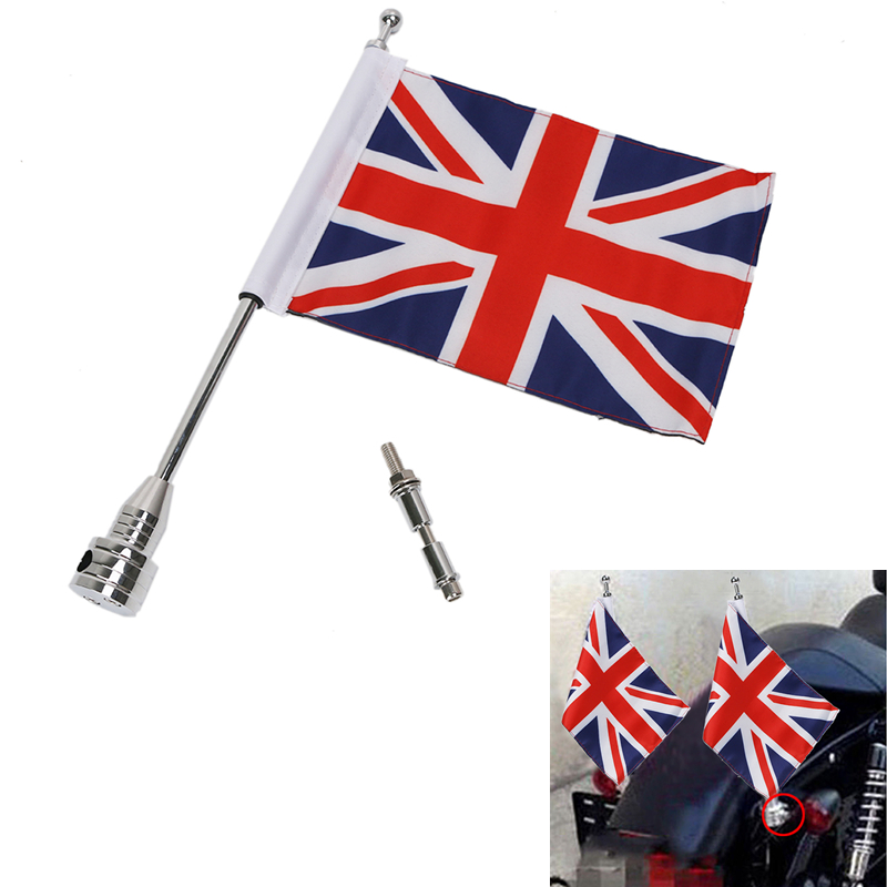 Motorcycle Bike Rear Luggage Rack UK British Flag & Steel Flag Pole Mount For Harley Touring Sportster Dyna Softail #MBG030-UK motocycle cnc aluminum rear side mount luggage rack vertical flag pole american for harley touring road king glide