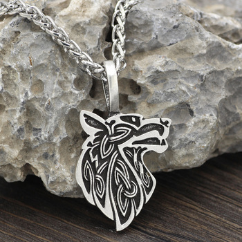 Viking Wolf Head Odin'S Wolf Geri Frek Amulet With Viking Gift Bag  Viking Necklace