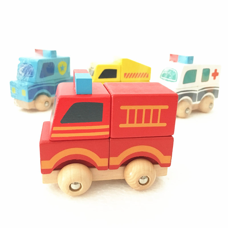 Baby Toys Vehicle Blocks Ambulance/Truck/Police Building Blocks Wooden Toys Vehicle Model Child Educational Birthday Gift baby toys moon balancing game educational building blocks wooden toy geometric blocks child birthday gift