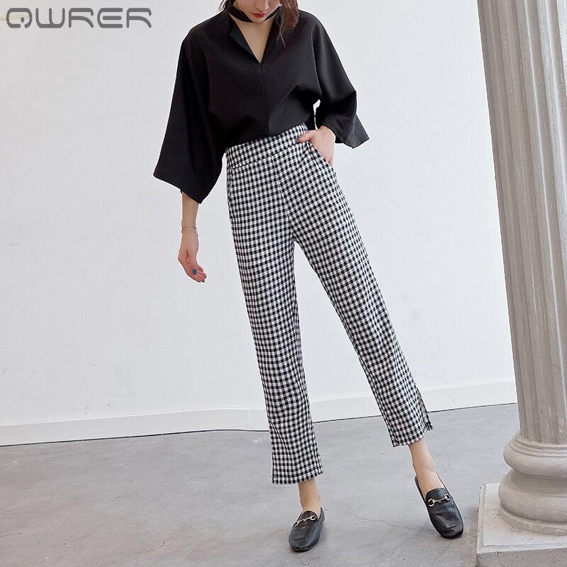 Black And White Plaid Women Clothing Pants Fashion Casual