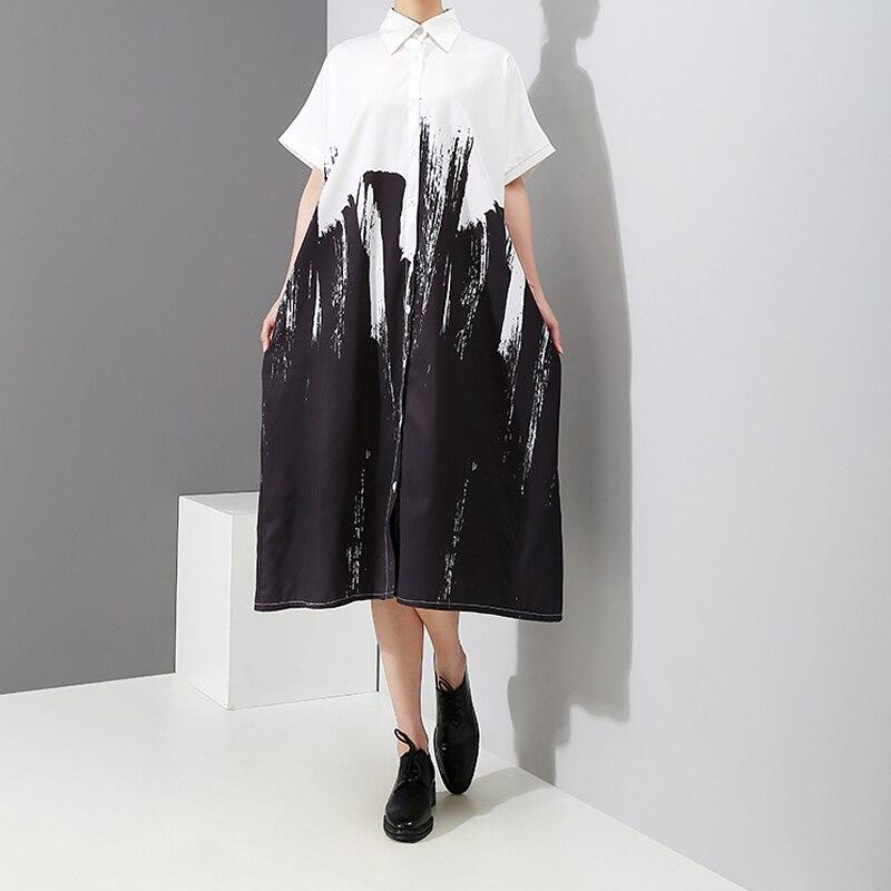 Painting Style Loose White Shirt Dress Long Sleeve Print Plus Size
