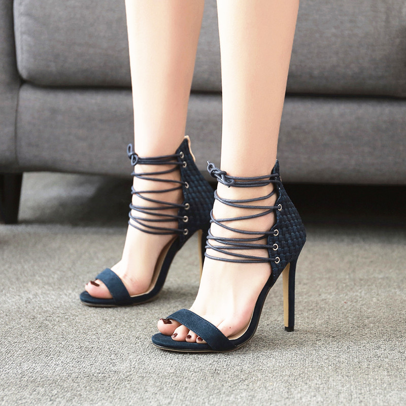 f82516a1f1b6 MeiLiKeLin Ankle Strappy Sandals Black Blue High Heel Summer Shoes Women  Sandals Bandages Gladiator Shoes Catwalk High Heels 9 -in High Heels from  Shoes on ...