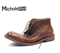 Italy Teyi Retro Old Solid Hand Carved Leather Boots Boots Bullock England Boots Boots