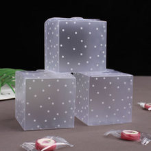 50pcs Frosted Plastic Gift Box White Polka Dots PVC Gift Candy Box Packaging Square Transparent Party Wedding Plastic Boxes(China)