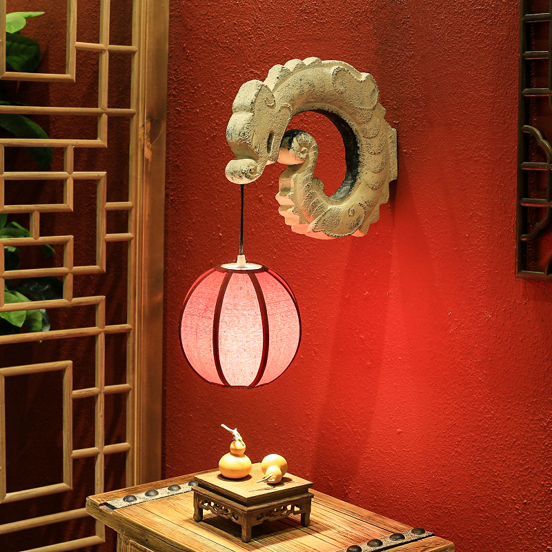 Antique chinese wall lamp hotel corridor aisle light sconce restaurant balcony living room art lighting fixture