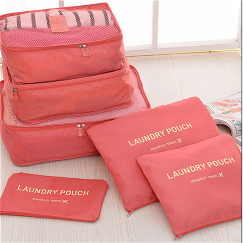 2017 New 6pcs Set Organizer Storage Bag Suitcase Pouch Travel Luggage Tidy Bra Cosmetics Cases Clothes Free J428 In Bags From Home