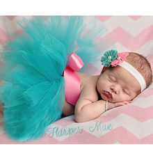 Pink Mint Newborn Tutu and Headband Baby Tutu Skirt Newborn Photography Prop Pettiskirt Infant Costume Outfit TS034(China)