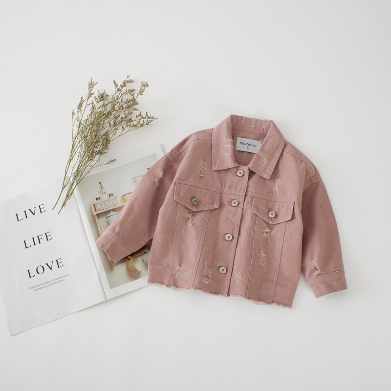 DFXD High Quality 2018 New Children Girls Autumn Long Sleeve Outwear Korean Kids Pink/White Ripped Jacket Toddler Cardigan Coats plus size long sleeve ripped tee
